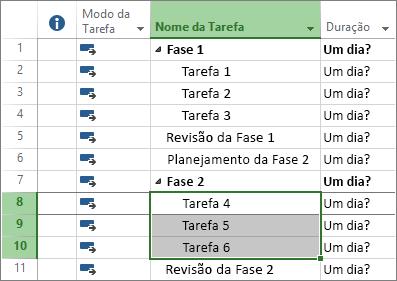 Captura de tela de tarefas de estrutura de tópicos em um plano de projeto.