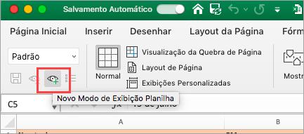Mostra a planilha do Excel