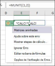 #CALC de matriz aninhadas! erro