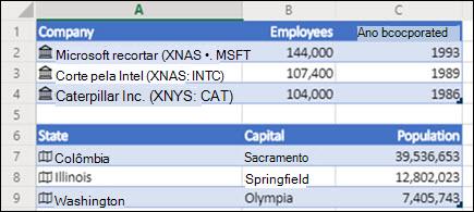 Imagem de tipos de dados de Ações e Geografia no Excel para a Web