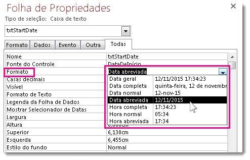 Uma imagem da Folha de Propriedades mostrando a lista suspensa Formato.