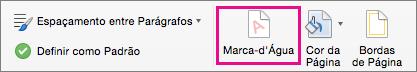 A opção de Marca D'água é realçada na guia Design.