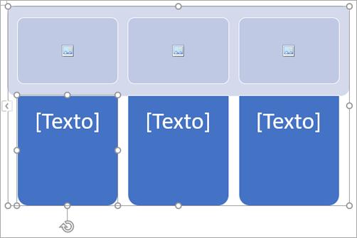 Elemento gráfico SmartArt com espaços reservados para imagem