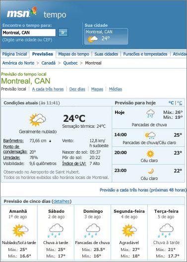 Página do MSN mostrando a previsão do tempo para Montreal