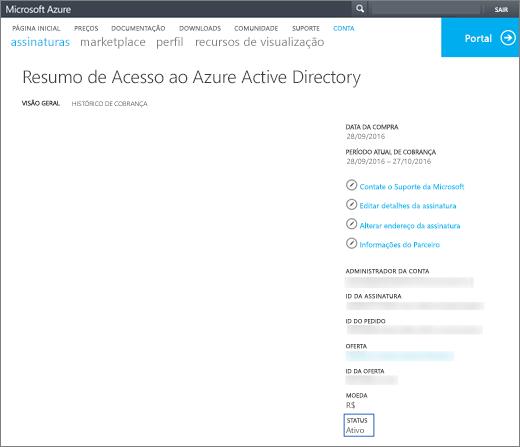 Captura de tela da página Visão Geral do Resumo do Acesso ao Azure Active Directory. São mostradas informações como data de aquisição, período de cobrança atual, administrador da conta, ID da assinatura, ID do pedido, oferta, ID da oferta, moeda e status.