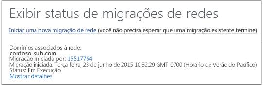 Captura de tela mostrando o Status das migrações de rede: a migração de rede do Yammer está em execução