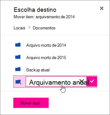Mover o arquivo a caixa de diálogo com um novo nome de pasta inserido
