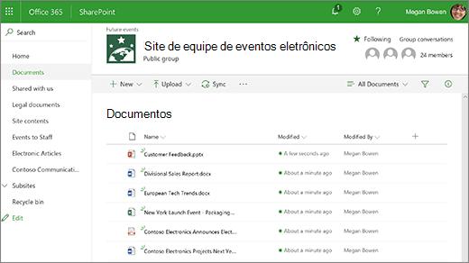 Biblioteca de site de equipe com arquivos