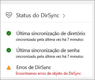 O bloco de Status do DirSync na visualização do centro de administração