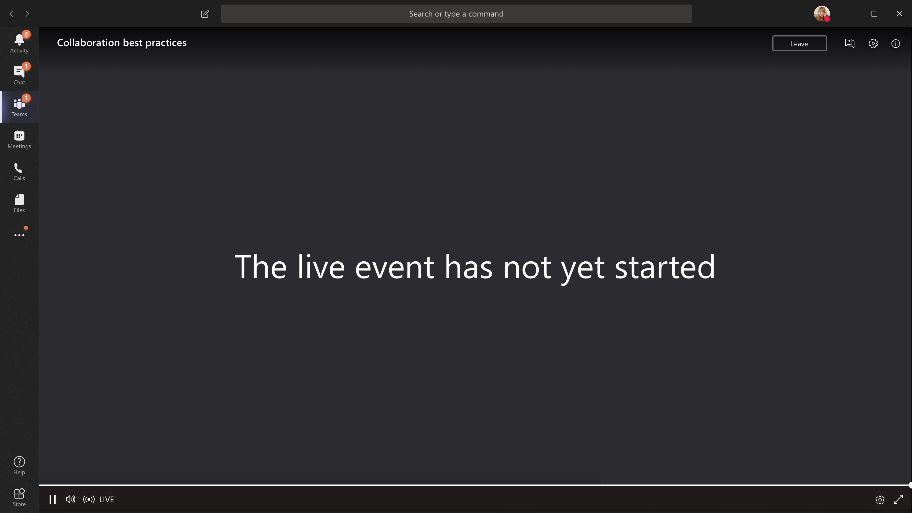 Evento não iniciado