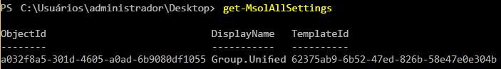Localizar objeto de Configurações de Grupo
