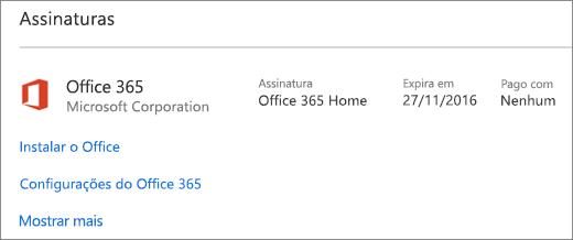 Se a sua avaliação do Office 365 foi instalada no seu novo PC, ela expirará na data exibida