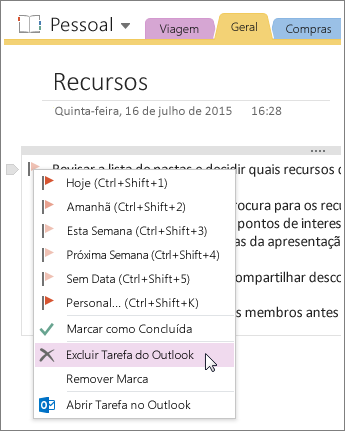 Captura de tela de como excluir uma tarefa do Outlook no OneNote 2016.