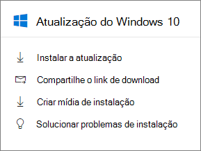 Cartão de atualização do Windows 10 no Centro de administração.