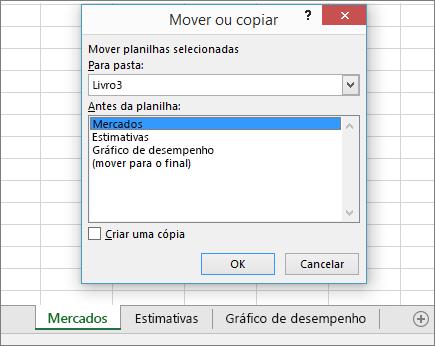 Mover ou Copiar caixa de diálogo