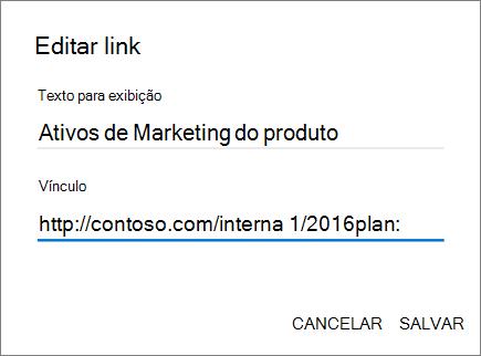 Imagem do menu Adicionar link.