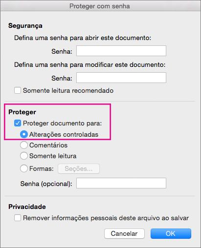 """Caixa de diálogo Proteger com Senha com a opção """"Proteger documento para:"""" e """"Alterações controladas"""" realçadas."""