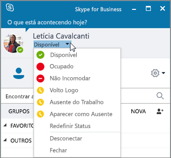 Captura de tela da janela do Skype for Business com o menu de Status aberto.