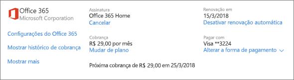 Na página serviços e assinaturas, mostrando os detalhes de assinatura para uma assinatura do Office 365 Home.