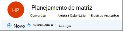 Esta é a aparência de cabeçalho grupos no Outlook na web