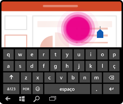Gesto de posicionar o cursor do PowerPoint para Windows Mobile