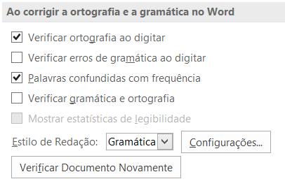 Durante a correção ortográfica e gramatical no Word