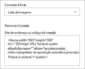Exemplo de código de inserção para uma imagem selecionada