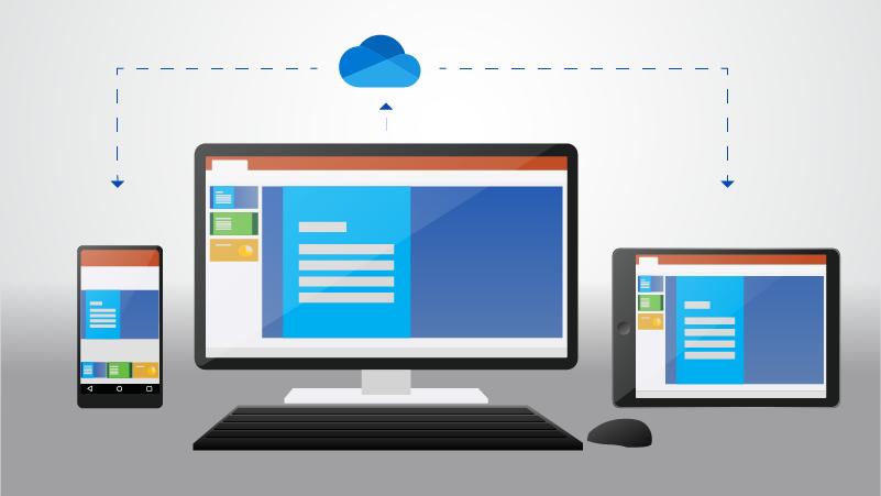 Um telefone, um computador desktop e um tablet mostrando um documento armazenado no OneDrive