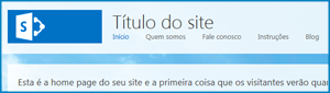 Captura de tela da home page padrão do Site Público no SharePoint Online