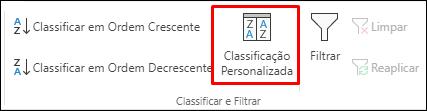Opção de Classificação Personalizada na guia Dados do Excel