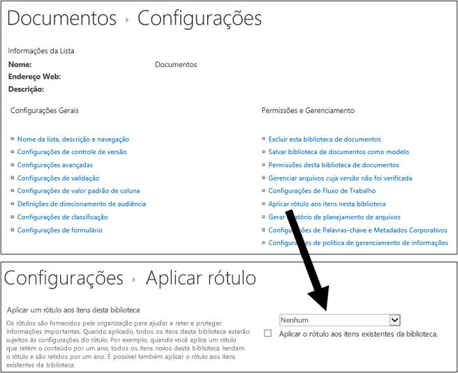 Aplicar a opção de rótulo na página Configurações de biblioteca