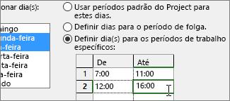 Definir períodos de trabalho