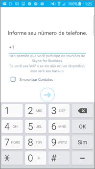 Captura de tela da janela em que você inseriu o número para retorno de chamada no seu telefone Android