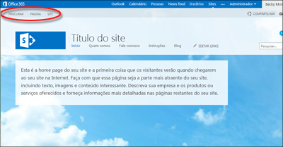 Layout de página padrão para o site público do Office 365