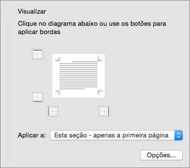 A caixa Visualizar exibida na caixa de diálogo Bordas e Sombreamento