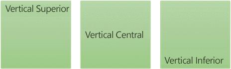 Três opções verticais de alinhamento de texto: superior, intermediária e inferior