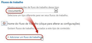 Adicionar um comando de fluxo de trabalho com Tipo de conteúdo do documento selecionado
