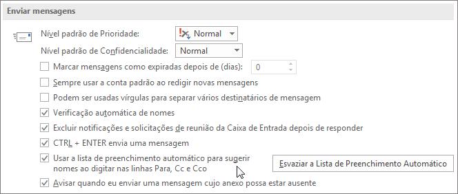 Escolha Arquivo, Opções, Email e em Enviar mensagens, desmarque a caixa de seleção Lista de Preenchimento Automático.