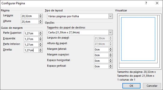 Caixa de diálogo para Configuração da Página