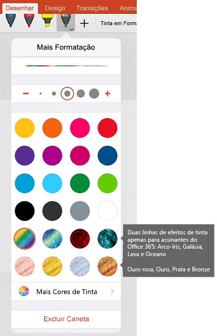 Tintas de cores e efeitos para desenho à tinta no Office IOS
