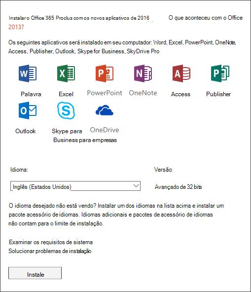 Se você tiver uma opção, selecione a versão do Office que deseja instalar, selecione um idioma e, em seguida, selecione Instalar.