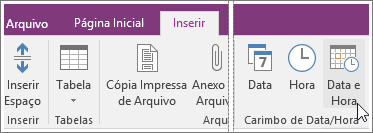 Captura de tela do botão de Data e Hora no OneNote 2016.