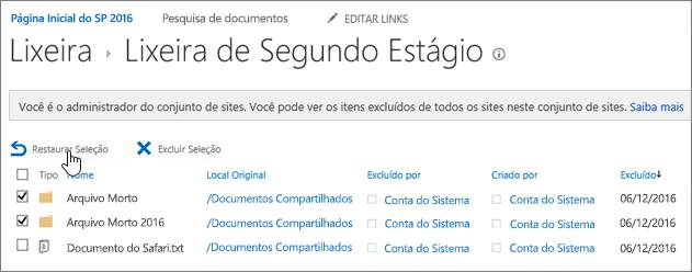Lixeira de segundo estágio do SharePoint com o botão Restaurar realçado