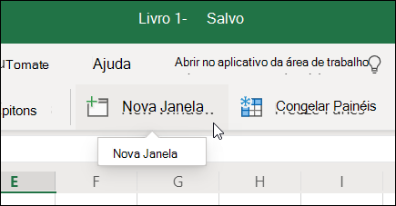 Novo comando Janela na faixa de opções Excel para a Web