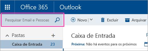 Captura de tela da caixa Pesquisar Emails e Pessoas