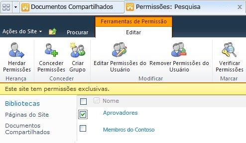 Removendo permissões do usuário