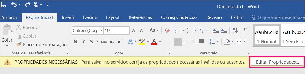 Botão Editar Propriedades exibido na barra de notificações