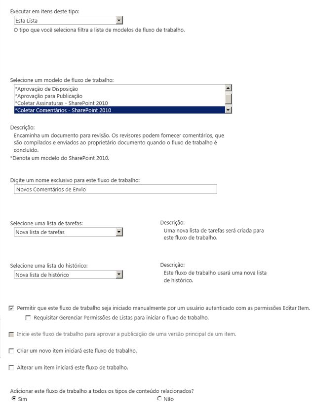 Primeira página do formulário de inicialização