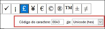 O campo De informa que se trata de um símbolo do Unicode