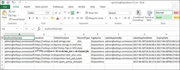 Dados de descarte exportado no Excel